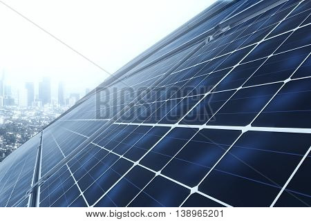 Side view of solar panels on house roof against city. 3D Rendering