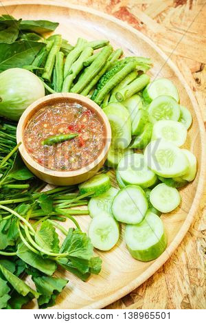 Sauce Of Shrimp Paste And Chili With Vegetables.