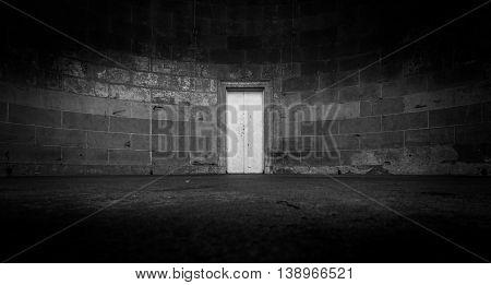 Lonely Door down a dark hallway in New York