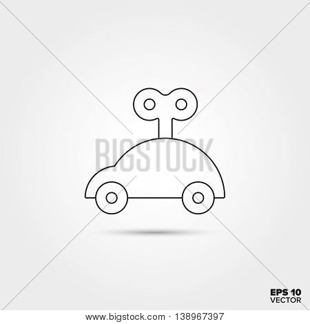 Wind-up Car Line Icon Vector