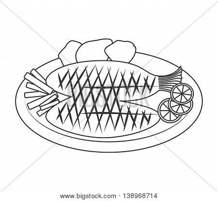 Seafood and gastronomy theme design, isolated flat icon vector illustration.