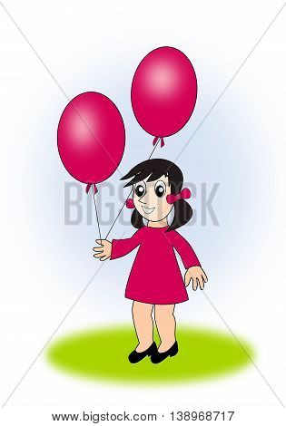 A little girl, in a red dress, holding two balloons.