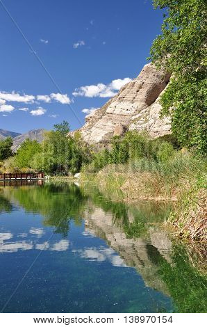 Scenic pond in Whitewater Canyon Preserve near the desert town of Palm Springs, California.