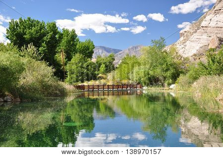View of a scenic pond in Whitewater Canyon Preserve near the desert town of Palm Springs, California.