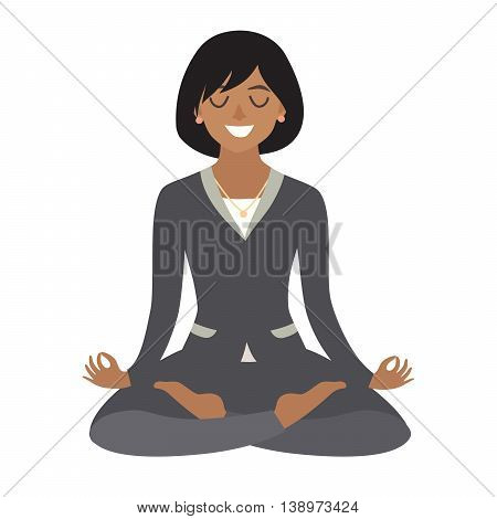 Business woman meditating. Concept of calm business work at office. African-american business Woman in yoga pose lotus position. Cartoon style vector illustration isolated on white background