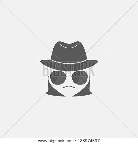 spy icon in a hat and sunglasses