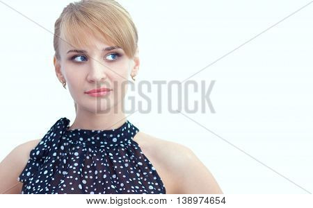 Portrait of an attractive young woman standing .