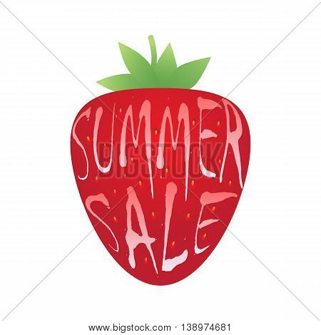 Summer sale inscription over strawberry.  Sale banner template