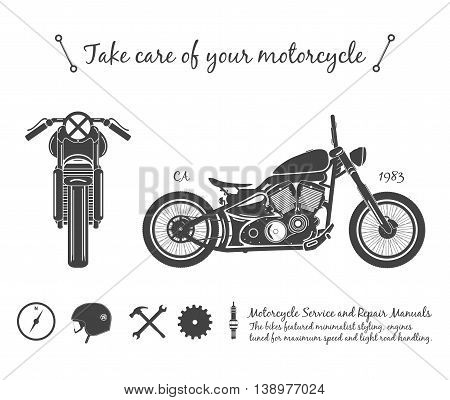 Vintage motorcycle infographic. old-school bike theme. vector illustration.