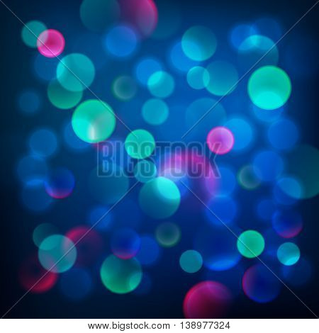 Abstract Dark Blue Circular Bokeh Background, Vector Illustration