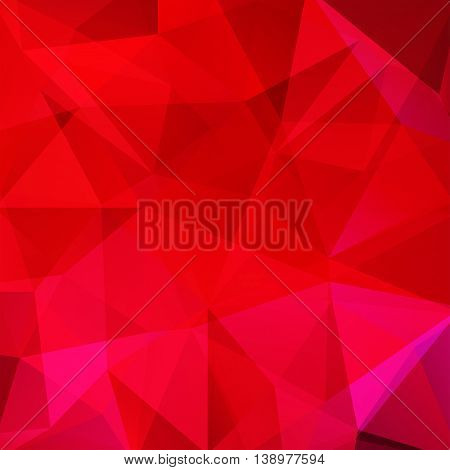 Background Made Of Triangles. Square Composition With Geometric Shapes. Eps 10 Red, Pink Colors.