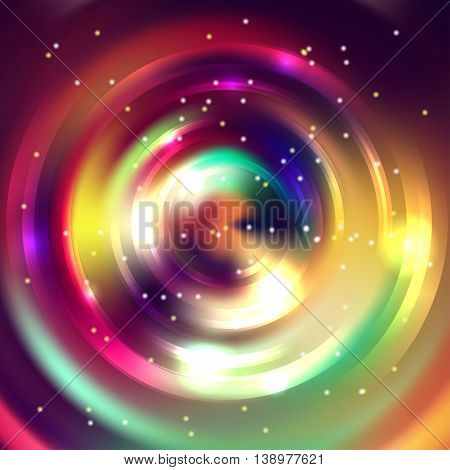 Abstract Circle Background, Vector Design. Infinite Round Tunnel Of Shining Flares. Colorful Backdro