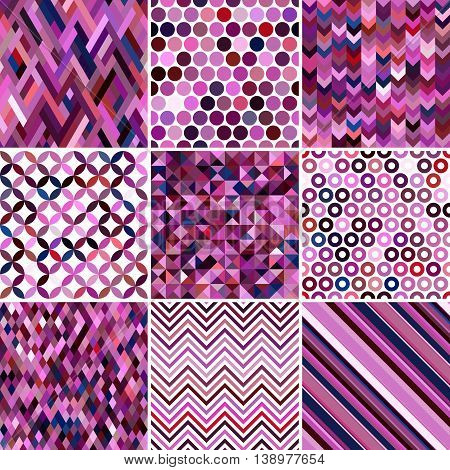 Set Of Abstract Background, 9 Geometric Pattern, Vector Illustration. Texture Can Be Used For Printi