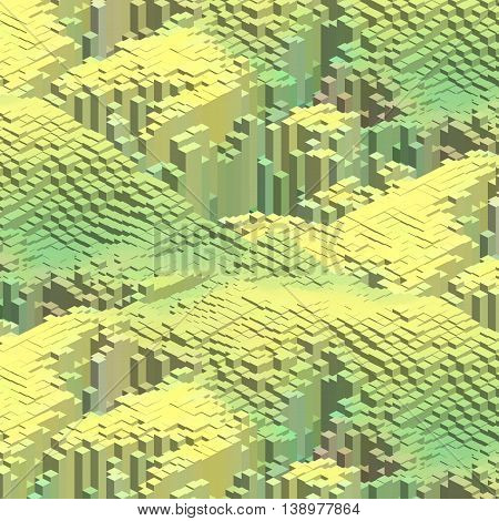 Abstract Background With 3D Cubes. Yellow, Green Colors.