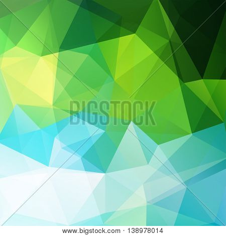 Background Made Of Triangles. Square Composition With Geometric Shapes. Eps 10 Green, Blue Colors.