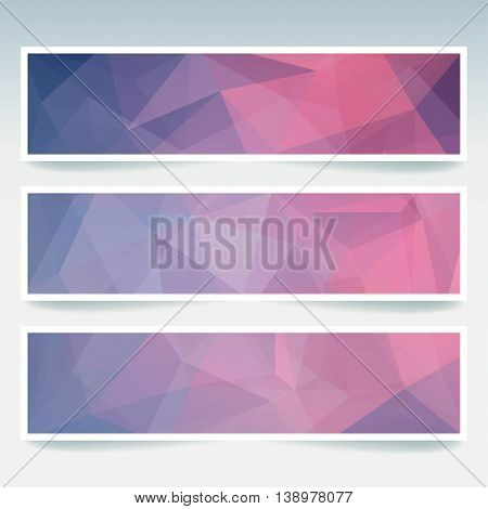 Horizontal Banners Set With Polygonal Triangles. Polygon Background, Vector Illustration. Pink, Blue