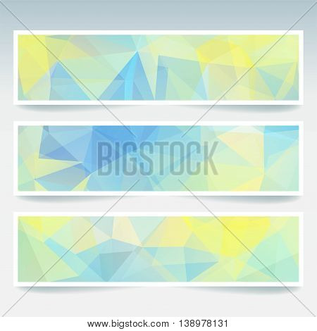 Set With Abstract Background. Modern Vector Banners With Polygonal Triangles. White, Yellow, Blue Co