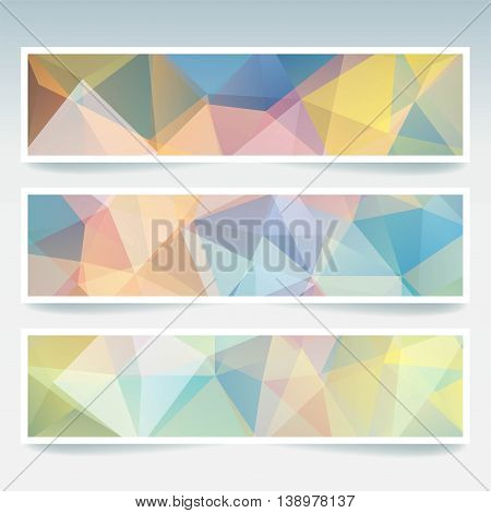 Horizontal Banners Set With Polygonal Triangles. Polygon Background, Vector Illustration. Light Past