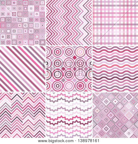 Set Of Seamless Abstract Background, 9 Geometric Pattern, Vector Illustration. Pastel Pink, White Co