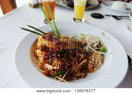Spicy Shrimp, Mussel, Salad Hot And Sour. Thai Food.