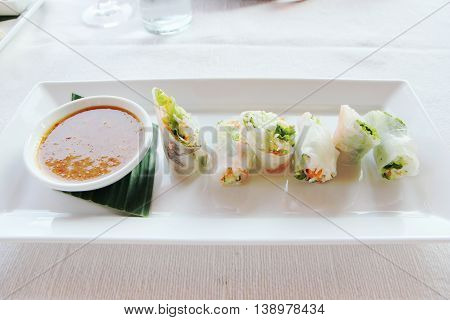 Summer Roll , Salad roll , Fresh Spring Roll , Vietnamese Food, Thai food