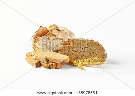 fresh rural bread on white background