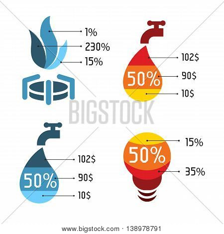 Isolated abstract blue and red color vector logos set. Utilities services payments icons.