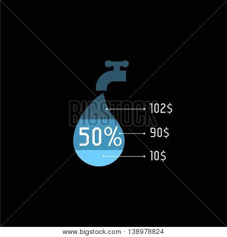 Isolated water tap with blue color drop vector logo. Utilities payments logotype on the black background. Public service element icon. Hot flowing liquid illustration.