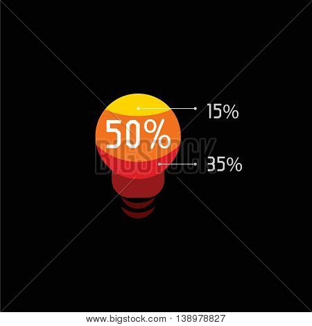 Isolated red and orange color light bulb vector logo. Lighting equipment logotype on the black background. Utilities payments. Abstract illumination element.