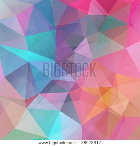 Abstract Background Consisting Of Triangles, Vector Illustration. Pastel Pink, Blue, Orange Colors.