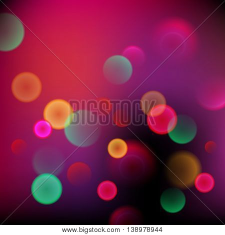 Abstract Blurred Colorful Background With Bokeh. Vector Illustration. Purple Color.