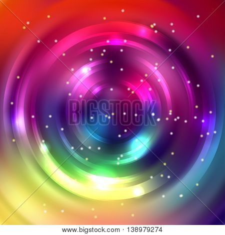 Abstract Circle Background, Vector Design. Glowing Spiral. The Energy Flow Tunnel. Colorful Backdrop