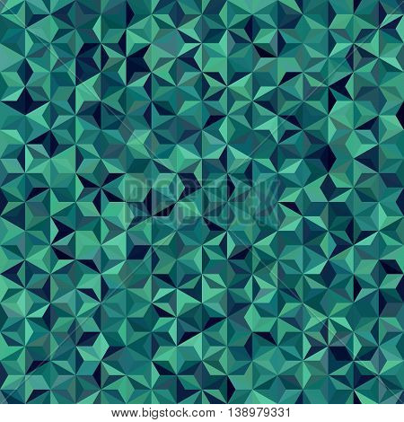 Vector Seamless Abstract Background For Design With Triangles. Vector Illustration. Dark Green Color
