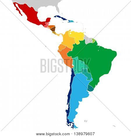Colorful Countries of Latin America. Vector map.