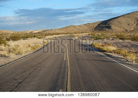 Empty road in the nevada desert, United States