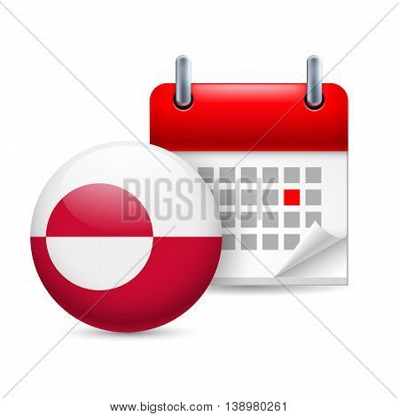 Calendar and round flag icon. National holiday in Greenland