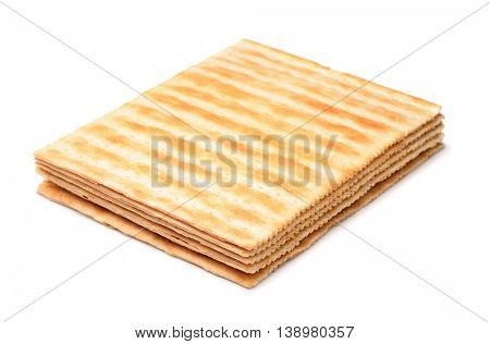 Baked puff pastry dough sheets isolated on white