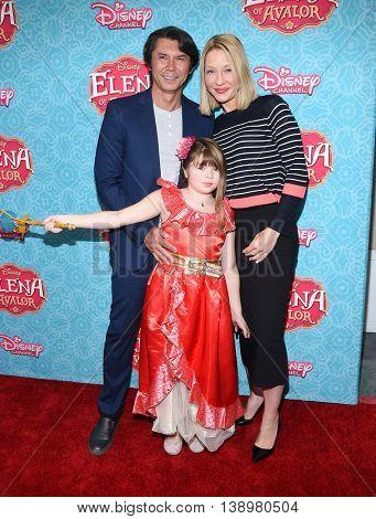 "LOS ANGELES - JUL 16:  Lou Diamond Phillips, Yvonne Boismier & Indigo Sanara Phillips arrives to ""Elena of Avalor"" Los Angeles Premiere on July 16, 2016 in Beverly Hills, CA"