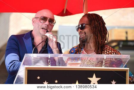 LOS ANGELES - JUL 15:  Pitbull aka Armando Christian Perez & Lil Jon arrives to the Walk of Fame honors Pitbull on July 15, 2016 in Hollywood, CA