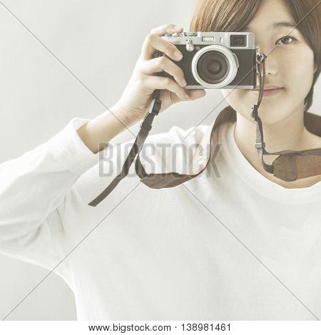Camera Asian Active Photographer Technology Concept