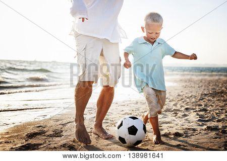 Soccer Father Son Fun Beach Concept