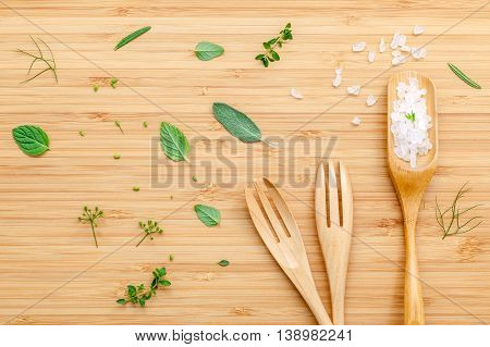 Aromatic Herbs And Spices  Green Mint ,fennel ,oregano, Sage,lemon Thyme And Peppermint With Fork An