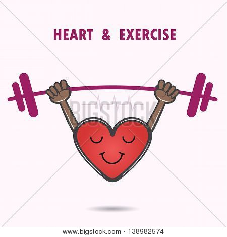 Smile heart shape with the barbell on background.Heart Care logo.Healthcare & Medical concept.Sport and lifestyle icon. Vector illustration