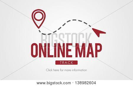 Online Map Internet Media Navigation Route Concept
