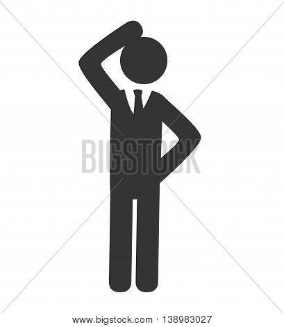 businessman confused pictogram , isolated flat icon design
