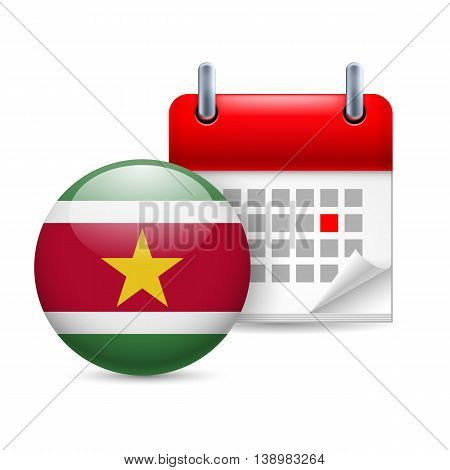 Calendar and round Surinamese flag icon. National holiday in Suriname