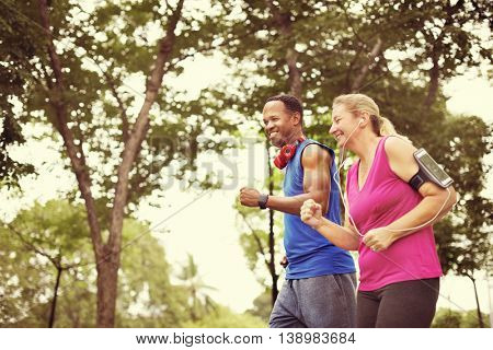 Couple Exercise Fitness Happiness Healthy Concept