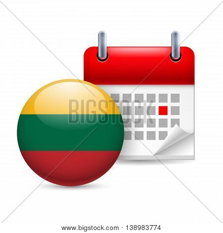 Calendar and round Lithuanian flag icon. National holiday in Lithuania