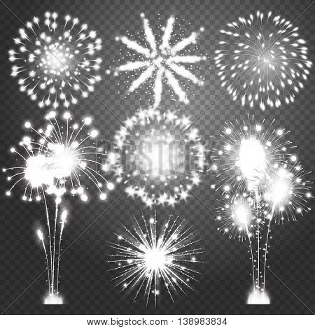 Firework bursting in various shapes sparkling pictograms set. Abstract vector isolated illustration. Isolated