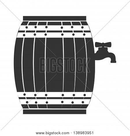 Wine wooden barrel isolated, vector illustration eps10